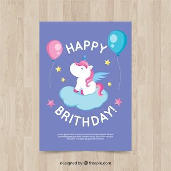 Cartão de aniversário com unicórnio