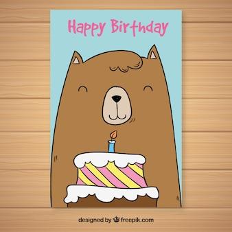 Cartão de aniversário com urso e bolo