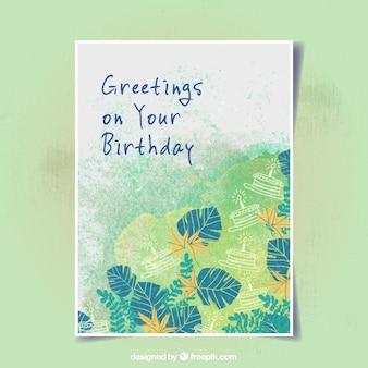 Cartão de aniversário com vegetação