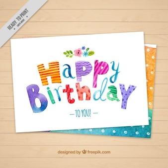 cartão de aniversário da aguarela com pontos