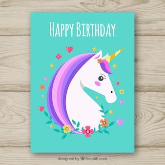 Cartão de aniversário de turquesa com um unicórnio