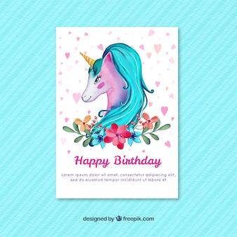 Cartão de aniversário de unicórnio de aquarela