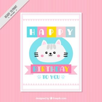 Cartão de aniversário do gatinho encantador
