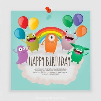 Cartão de aniversário do monstro