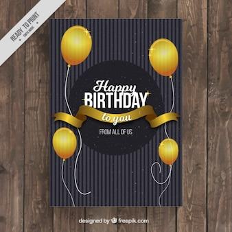 Cartão de aniversário elegante com globos dourados