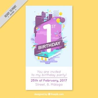 cartão de aniversário moderno do negócio