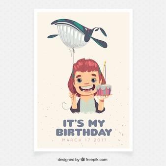 Cartão de aniversário para a menina com um balão da baleia