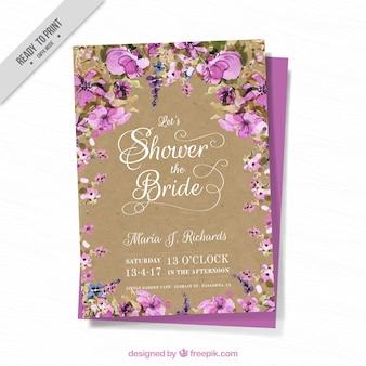 Cartão de Bachelorette com flores da aguarela