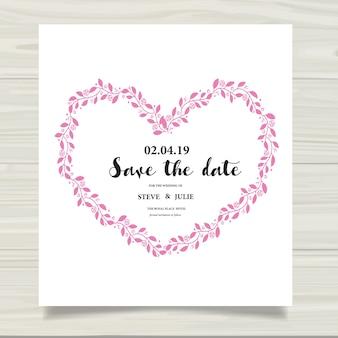 Cartão de casamento branco com coração de folhas