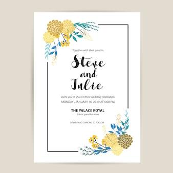 Cartão de casamento branco com flores