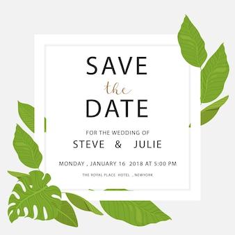Cartão de casamento branco com folhas verdes