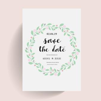 Cartão de casamento branco com grinalda floral