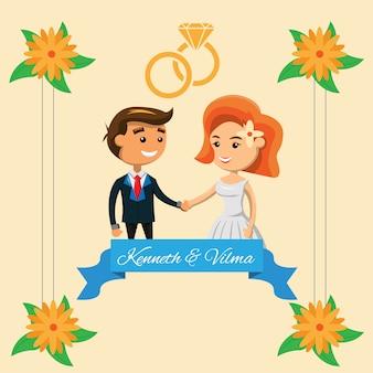 Cartão de casamento com design de casal