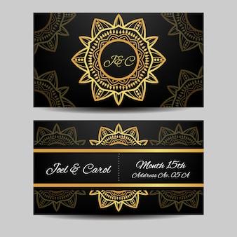 Cartão de casamento com design de mandala