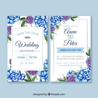 Cartão de casamento com flores de aguarela