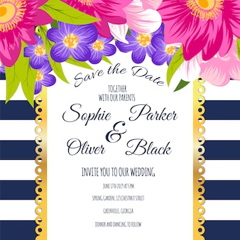 Cartão de casamento com flores e listras