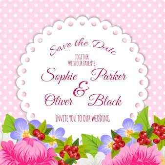 Cartão de casamento com flores e pontos
