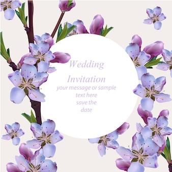 Cartão de casamento com flores roxas