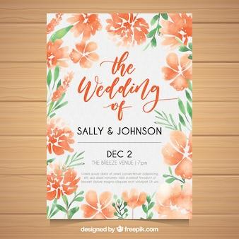 Cartão de casamento com flores tropicais