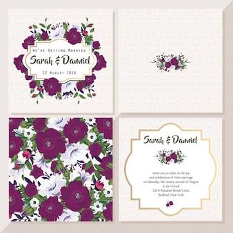 Cartão de casamento com flores violetas