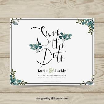 Cartão de casamento com folhas de aguarela