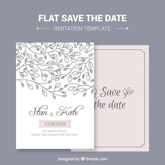Cartão de casamento com folhas desenhadas à mão
