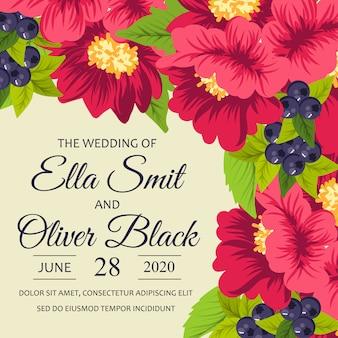 Cartão de casamento com lindas flores