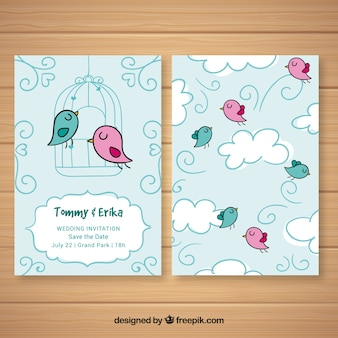 Cartão de casamento com pássaros coloridos