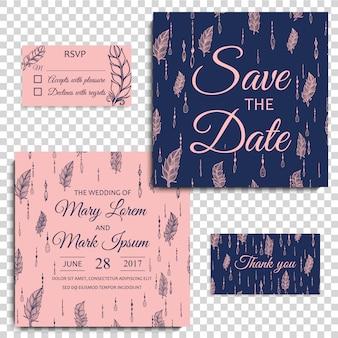 Cartão de casamento com penas