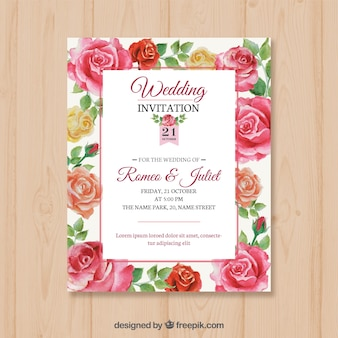 Cartão de casamento com rosas desenhadas à mão