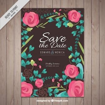 Cartão de casamento com rosas