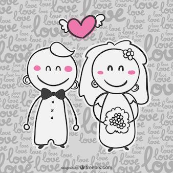 Cartão de casamento convite de banda desenhada