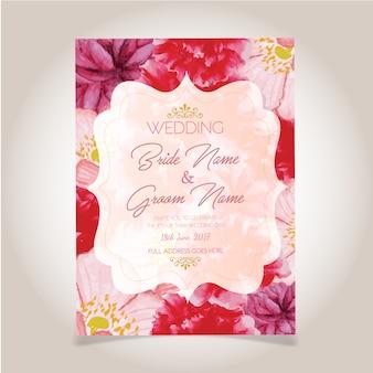 Cartão de casamento da flor da aguarela