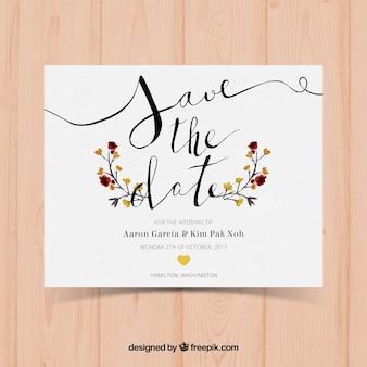 Cartão de casamento de aguarela com estilo moderno