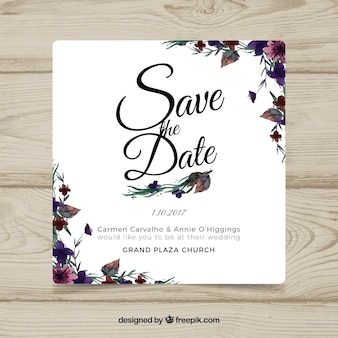 Cartão de casamento de aguarela com flores modernas