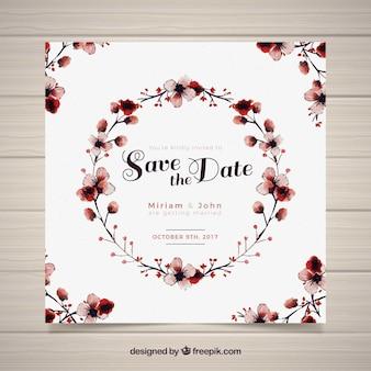 Cartão de casamento de aguarela com moldura circular