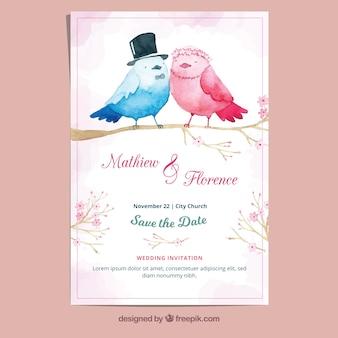 Cartão de casamento de aquarela