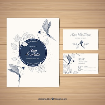 Cartão de casamento elegante