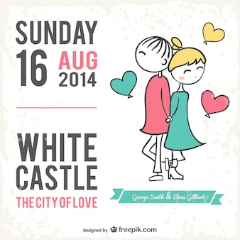 Cartão de casamento estilo cartoon