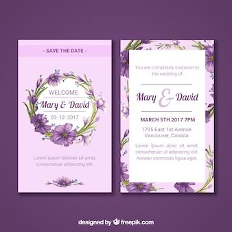 Cartão de casamento floral com estilo aquarela