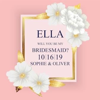 Cartão de casamento floral com fundo rosa