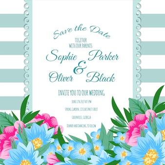 Cartão de casamento floral com listras