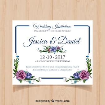 Cartão de casamento floral com quadro moderno