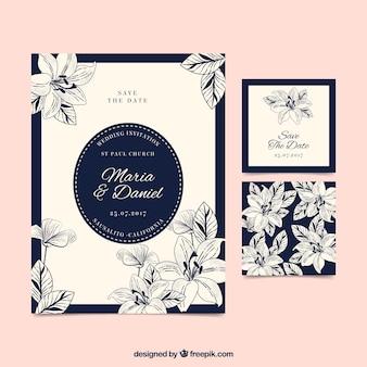 Cartão de casamento floral vintage desenhado a mão