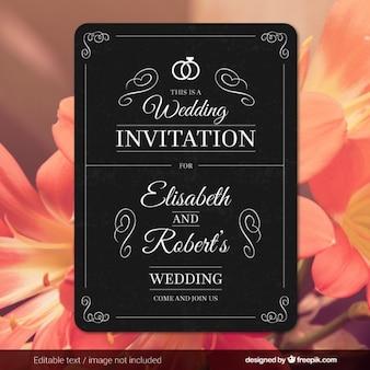 Cartão de casamento no estilo retro