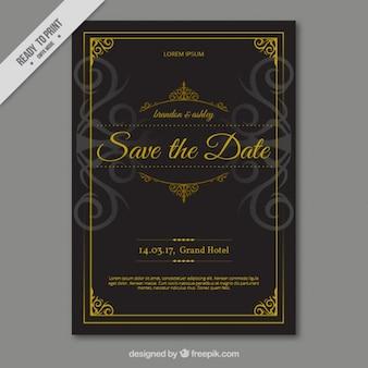 Cartão de casamento preto com decorada com ornamentos