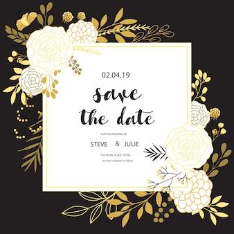 Cartão de casamento preto e branco com design floral
