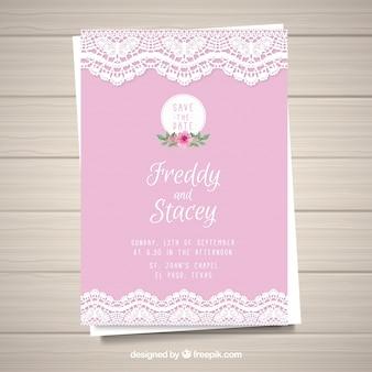 Cartão de casamento rosa