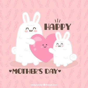 cartão de coelhos linda de dia das mães