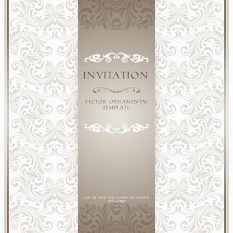Cartão de convite padrão de padrão ornamental bege ou capa de álbum modelo de ilustração vetorial